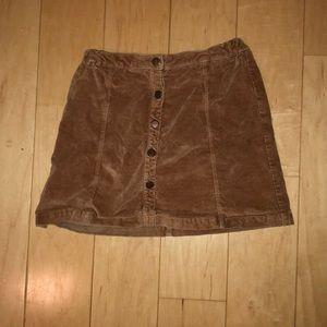 Fall brown velvet mini skirt